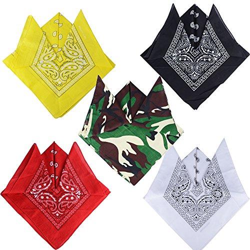 BETESSIN 5pcs Pañuelos Bandanas Paisley para Cabeza Pelo Cuello Muñecas (100% Algodón) Multicolores para Mujer y Hombre