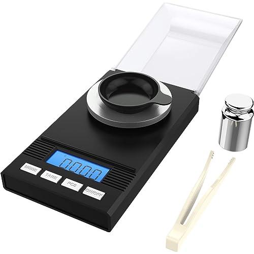 homgeek Bilancia di Precisione 0.001g, Bilancia Milligrammo Precisione Digitale Scale, Bilancia Ultraleggero con Mini Display LCD, 50g x 0.001g, 2 × Batterie, Nero