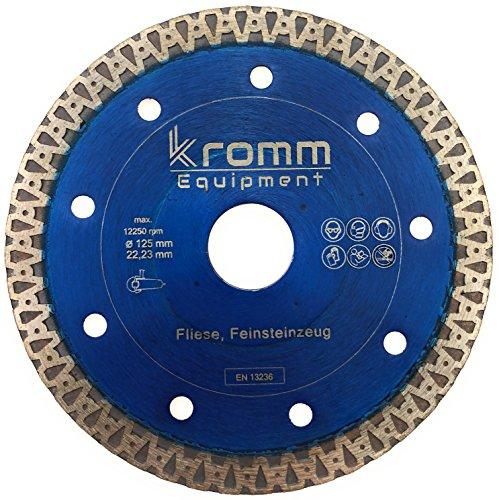KROMM Diamanttrennscheibe 125 - Blue-TH30 PREMIUM │Diamantscheibe Fliese - Feinsteinzeug Trennscheibe 125 x 22,23 mm │Flex Diamant Scheibe für Winkelschleifer