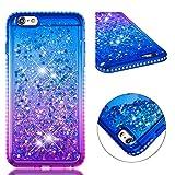 BONROY Hülle für iPhone 6 Plus/6S Plus Schutzhülle mit Flüssig-Glitzer, Handyhülle, Back Cover mit Glitter Flüssigkeit, aus TPU/Silikon,Transparent-(YB-Gradient blau lila)