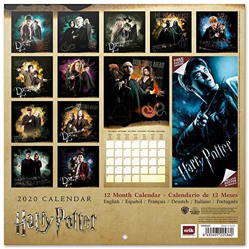 61Ck6IvVL%2BL - ERIK - Calendario de pared 2020 Harry Potter, 30 x 30 cm (incluye póster de regalo)