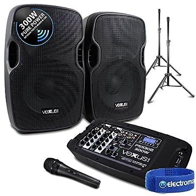 Portable PA Sound System SD/USB/MP3/BT Powered Mixer, Mic, Stands DJ Disco 300W