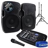 Electromarket Portable PA Sound System SD/USB/MP3/BT Powered Mixer, Mic, Stands DJ Disco 300W