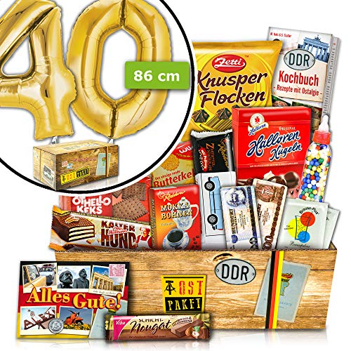 Zum 40 Geburtstag - INKL. FOLIENBALLON 40 Gold - DDR Süßigkeiten Set