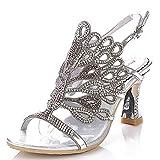 Honeystore Damen's Strass Pfau Handgemacht Hochzeit Sandalen Silber 8 UK