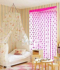 Super India Set Of 2 Pink Beautiful Heart Net Strings Curtains 6ft