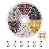 Pandahall Elite Über 3300 Stück Messing Schließen, aber Gelötete Messing-Biegeringe mit Ring-Tool für Schmuckherstellung, 6 Mischfarben,4 mm Innendurchmesser