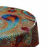 DecoHomeTextil Wachstuch Tischdecke Rund Oval Farbe & Größe Wählbar Mosaik Bunt 90 cm Rund abwaschbare Wachstischdecke