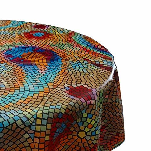 DecoHomeTextil Wachstuch Tischdecke Rund Oval Farbe & Größe Wählbar Mosaik Bunt ca. 140 cm Rund abwaschbare Wachstischdecke (Große, Runde Tischdecken)