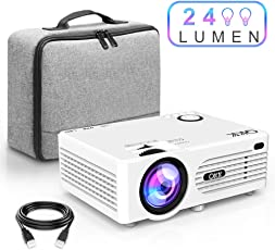 QKK Beamer, Mini Beamer mit tragbarer Tasche, Videobeamer 2400 Lumens, unterstützt 1080P Full HD, Kompatibel mit Fire TV Stick, PS4, Xbox, Chromecast, HDMI, VGA, SD, USB, Heimkino Beamer, Weiß.