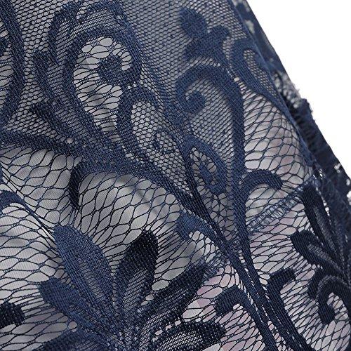 iBaste Robe de Cocktail Pour Mariage Vintage Retro Année 50 Dentelle Femme Sans Manches Robe de bal Marine