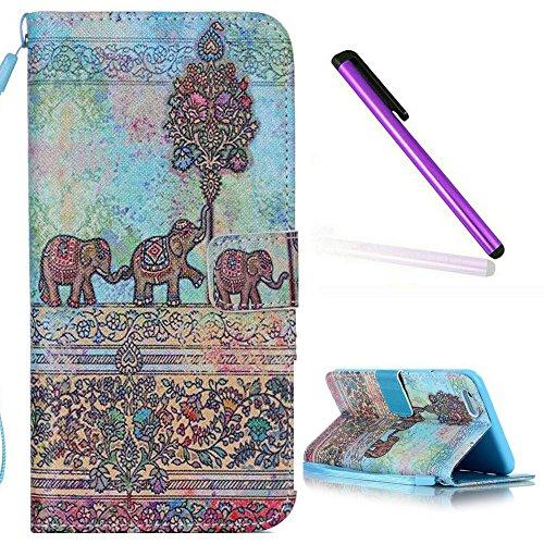 EMAXELERS iPhone 5C Hülle,iPhone 5C Case Cover Painted PU Leder Wallet Case Flip Skin Schale Brieftasche mit Standfunktion und Karte Halter Etui Handyhülle Hülle Case für iPhone 5C,Cute Elephants