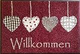 Wash&Dry Waschbare Fußmatte Cottage Hearts Rot Willkommen 50x75 cm Fußabstreifer mit Herz Motiven in Weinrot - Türmatte