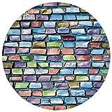 Pet Mat Round Rug Mat Carpet,Geometric Decor,Colorful Mosaic Textured Sketchy Brick Wall Display...
