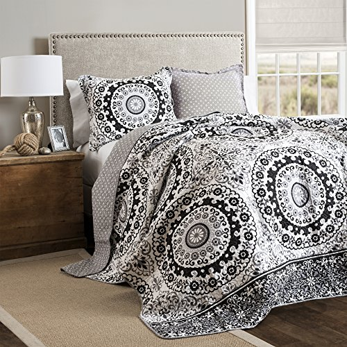Lush Decor 3 Stück Laurel Holz Kreis Quilt Set, Full/Queen, grau/schwarz (Sets Full-bettdecken)