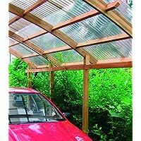 Conwy - Cochera individual con techo de PVC ondulado. Dimensiones: altura 290 cm x 500 de ancho y 280 cm de largo