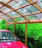 Pergola / Carport in Legno con Copertura in PVC Corrugato - Misure: H290 cm x 360 cm x 500 cm