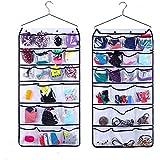 Supertech colgando organizador del armario con perchas de metal de doble cara 42 transparente bolsillos para ropa interior, BRA, guantes, calcetines, Corbatas almacenamiento, blanco