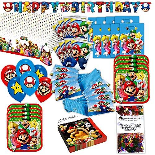 t XL 69-teilig für 8 Gäste Nintendo Deko Geburtstags Kit ()