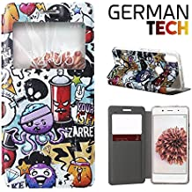 German Tech® - Funda carcasa tipo Libro con función soporte sin solapa para Bq Aquaris X5 Plus, Protege y se adapta a la perfección a tu Smartphone con ventana S-View con la que podrás ver todas tus notificaciones. Grafiti de Colores Divertido.