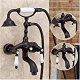Hiendure® Messing Wandhalterung Badewanne Wasserhahn Duscharmatur mit Handheld -Duschkopf , Rieb Öl Bronze-Finish