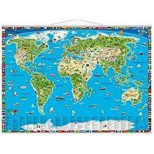 Illustrierte Weltkarte mit Metall-Beleistung: Erlebniskarte