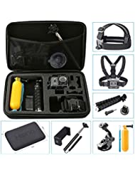 Hieha GoPro Accessories 10 in 1 Sport Action Camera Kit for HERO 5 Session 5 4 3 2 1 SJ4000 SJ5000 SJ6000 Xiaomi Octopus Tripod Selfie Stick Chest Mount Helmet Case Adapter Floating Grip Suction Cup Screw Phone Clip New Release