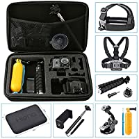 Hieha 10 in 1 GoPro Accessories Kit Action Camera Mount Go Pro HERO 5 Session Carry Case 4 3 2 1 SJCAM SJ4000 SJ5000 Xiaomi YI Vivitar Apeman A80 AKASO EK7000 Bundle Pack Set