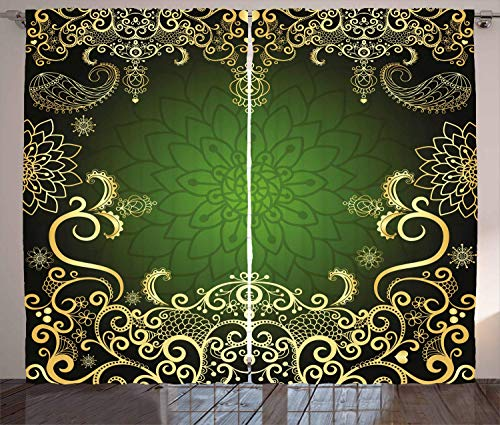 Mandala Curtains, Arabesque Frame with Lotus Shade Floral Swirls Little Hearts and Dots, Living Room Bedroom Window Drapes 2 Panel Set, Green Black Pale Yellow 110x90 in