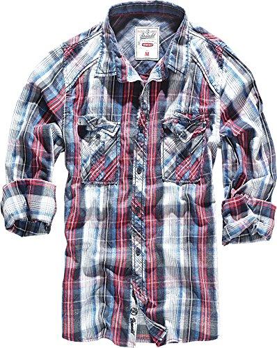 Brandit Central City Check Shirt Vintage Hemd Navy-White