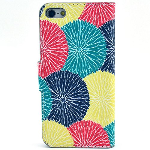 Più colorate Ancerson in pelle PU Flip Custodia per cellulare per Apple iPhone 5/5S/5G in pittura ad olio Stil Colorful Painting Custodia Flip Case Custodia in similpelle custodia per cellulare con fu dente di leone