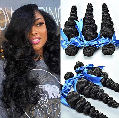 Menschenhaar Weave Verlängerungen Mixed Länge 3 Bundles Loose Wave Virgin Haar Perücken Haar Zubehör , 24 26 28 (Halloween-färbung Tischsets)
