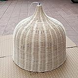 GRFH Lampada a sospensione artigianale tradizionale in campagna in bambù e rattan naturali Hotel Café soffitto a soffitto Bamboo Light Bar E27 110V 220V , natural diameter 30cm