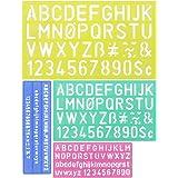 DECARETA 4Pcs Pochoir Chiffre et Lettre, Pochoir Alphabet Réutilisable en Plastique Pochoir à Dessin Semi-Transparent Règle p
