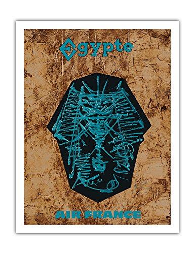 Große Sphinx (Pacifica Island Art Ägypten - Air France - Große Sphinx von Gizeh - Vintage Retro Fluggesellschaft Reise Plakat Poster von Georges Mathieu c.1966 - Kunstdruck - 51cm x 66cm)