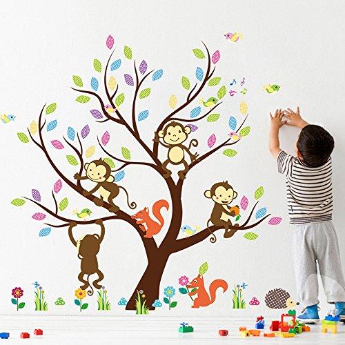 Rainbow Fox wandsticker baby wandtattoo Dschungel Zoo Tier Baum Affe Eule zum Kinder Zimmer Dekoration (1233)