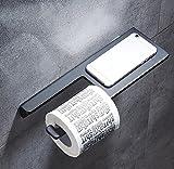 YYSCZJ Toilettenpapierhalterung Badezimmer an der Wand Montiert Telefonständer, Heim Hotel Stilvolle Einfachheit, Raum Aluminium, Schwarz, 300 * 100mm (Farbe : Black)