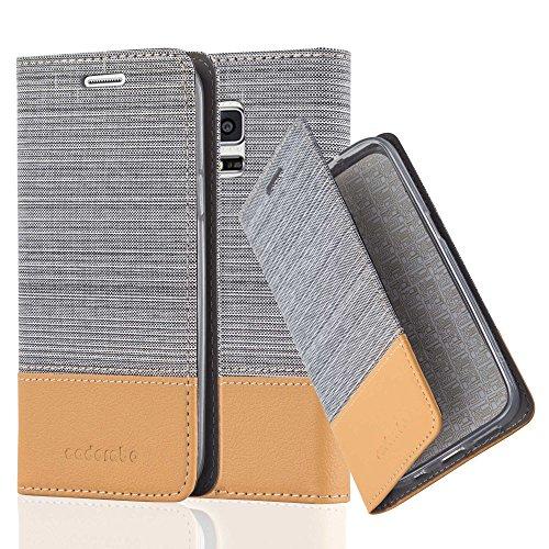 Cadorabo Hülle für Samsung Galaxy S5 Mini / S5 Mini DUOS - Hülle in HELL GRAU BRAUN – Handyhülle mit Standfunktion und Kartenfach im Stoff Design - Case Cover Schutzhülle Etui Tasche Book