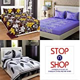 Stop N Shopp Glace Cotton Super Home Combo Double Bedsheet, Size - King, Pack Of 3, Multi Color