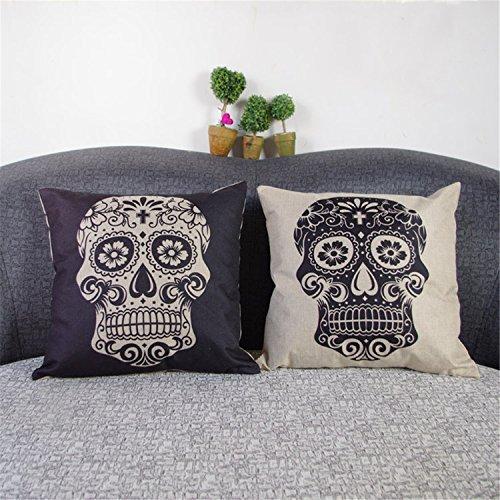 Luxbon 2x nero e beige teschio cranio lino federa cuscino caso divano vita Throw Cover Pillo wcase cellulare divano sedia auto casa decorativo 45x 45cm