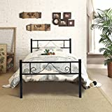 Cama de metal Aingoo con cama individual para jóvenes en color negro 90 x 190 cm