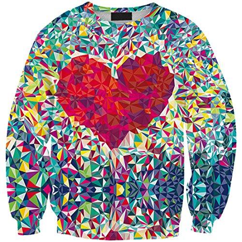 Yichun donne da tempo libero t-shirt sottile felpe camicetta stampa pullover maglione casual Heart 9#