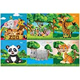 Pola Puzzles Wild Animals Set Tiling Puzzles 9 Pieces X 6 Puzzles For Kids Age 3 Years And Above Multi Color Size 11.2CM X 11.2CM Jigsaw Puzzles For Kids