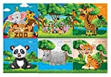 #4: Pola Puzzles Wild Animals Set Tiling Puzzles 9 Pieces X 6 Puzzles for Kids Age 3 Years and Above Multi Color Size 11.2CM X 11.2CM Jigsaw Puzzles for Kids