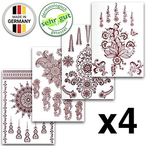 Tatuaggi temporanei in diversi disegni | adesivi rimovibili arabi di colore hennè | set di 4 fogli con 35 bellissimi tatuaggi – di ahimsa glow®