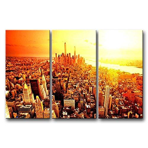 ür Home Decor NEW YORK CITY Sunrise 3Stück Gemälde Moderne Giclée-gespannt und gerahmt Artwork Öl der City Bilder Foto Prints auf Leinwand (Das Empire Hotel New York Halloween)