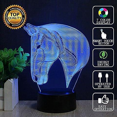 Petit Bar D Interieur - Lampe d'illusion optique 3D Tête de cheval