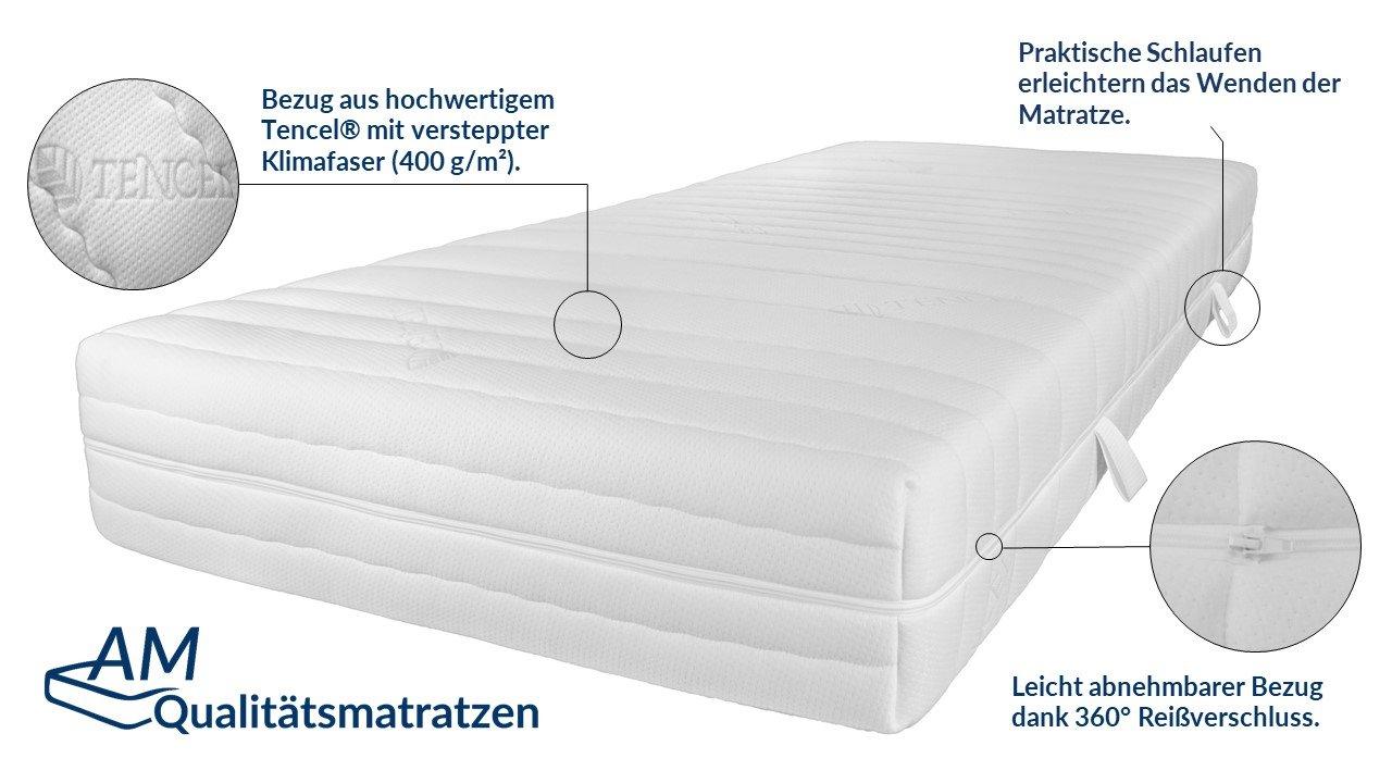 AM Qualitätsmatratzen Hochwertige 7-Zonen Taschenfederkernmatratze 70x180 cm - 24 cm Premiumhöhe…