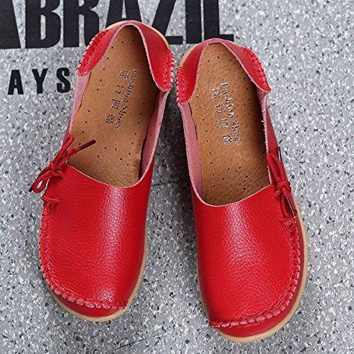 AFFINEST ocassins Femmes Loisirs Confort Chaussures Plates Loafers en PU Cuir Chaussures de Conduite,20 Couleurs Rouge