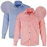 Oktoberfest-Kleidung Herren-Trachtenhemd, rot oder blau kariert, Größen S-XXL, Langarm mit Krämpelärmeln